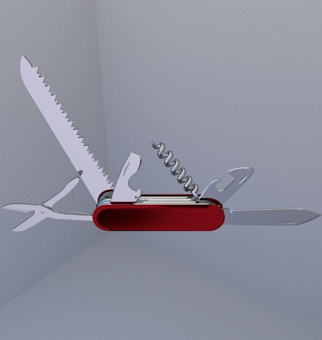 Swiss Pocket Knife 3d Model Obj 3ds Fbx Blend Dae
