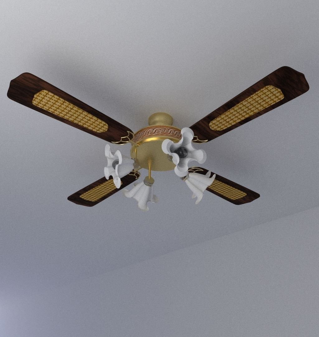 44 Inch Decorative High Quality Luxurious Ceiling Fans: Luxurious Ceiling Fan 3D Model .obj .3ds .fbx .blend .dae
