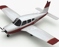 rigged 3d model piper pa-28 cherokee arrow