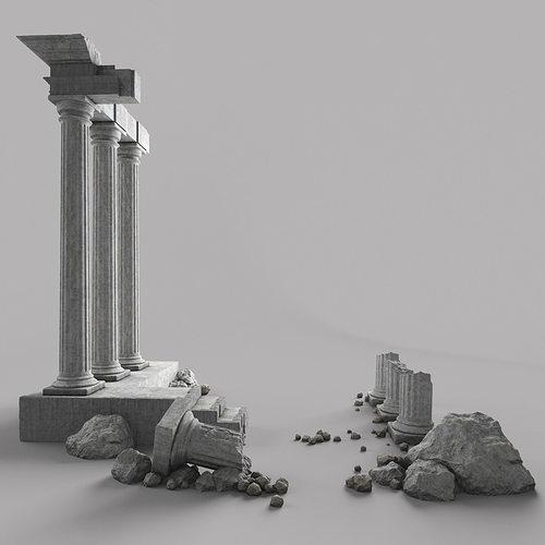 damaged pillars 3d model max obj mtl fbx 1