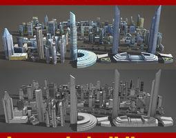 VR / AR ready 120 lowpoly buildings 3d asset