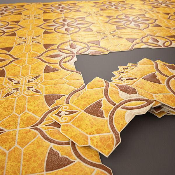 Spanish tile Emigres Puzzlemi Huesca Marron 3D model MAX FBX