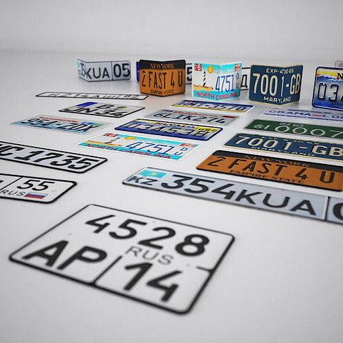 license plates 3d model max fbx 1