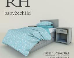 3d  restoration hardware haven 4-drawer bed