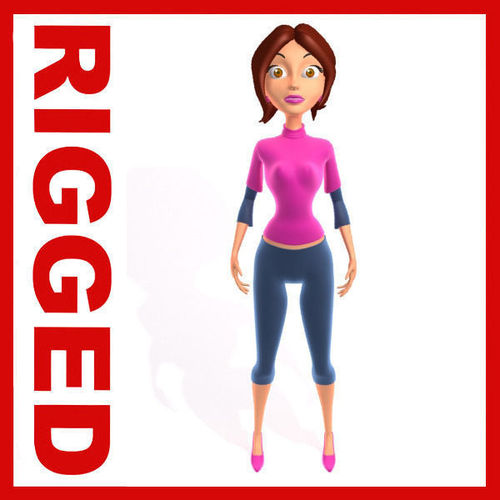 Woman Cartoon Rigged3D model