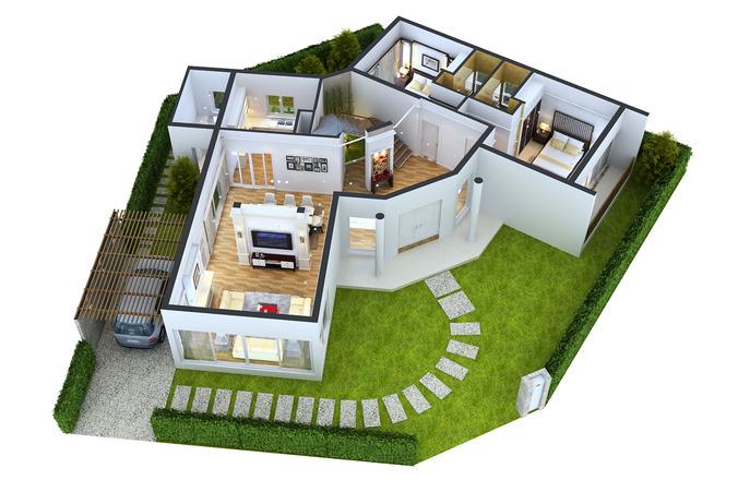 Detailed House floor 1 Cutaway3D model