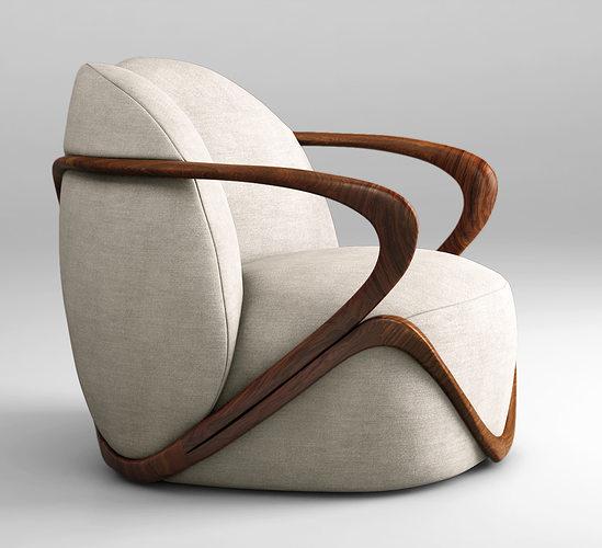 giorgetti hug armchair 3d model max obj 1