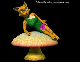 anthro female cat feline rigged cartoon t-pose model 3d