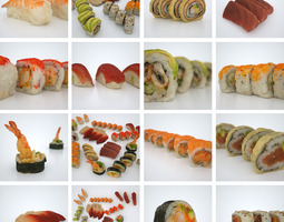 sushi assortiment  3d model low-poly