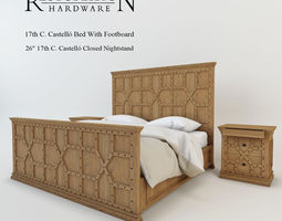 3d restoration hardware 17th c castello bed with footboard