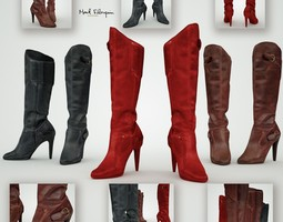 low-poly leather boots 3d asset