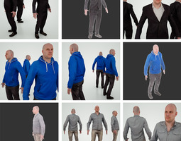 3 male characters 3D Model