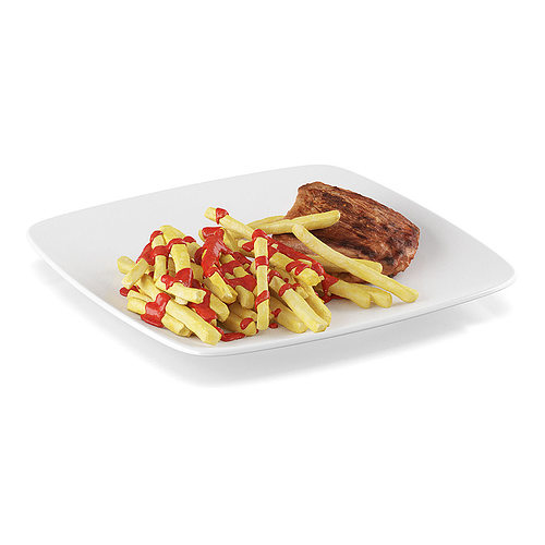steak with french fries 2 3d model max obj fbx c4d mtl 1