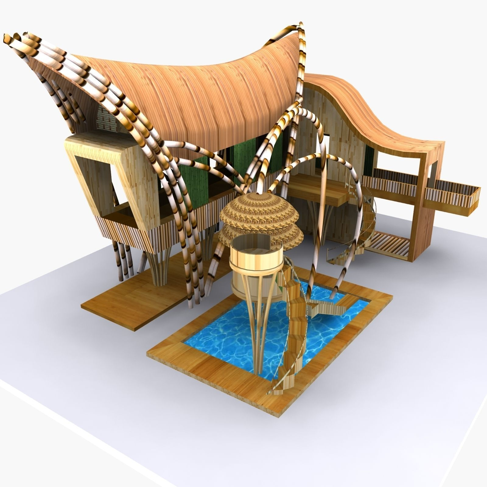 Bamboo House 3D Model MAX OBJ 3DS FBX | CGTrader.com