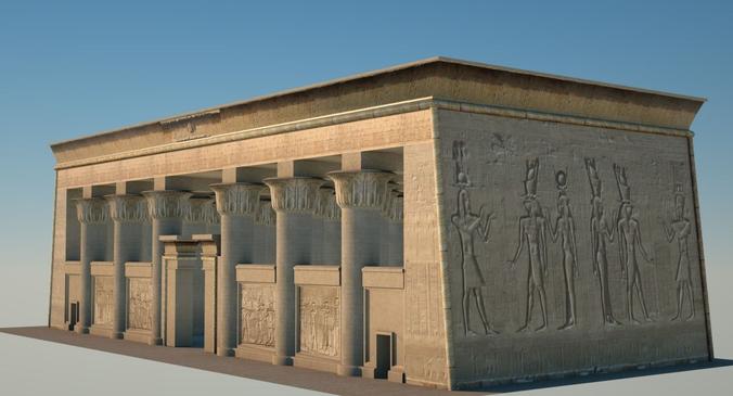 egyptian temple 3d model obj c4d ma mb blend vue. Black Bedroom Furniture Sets. Home Design Ideas