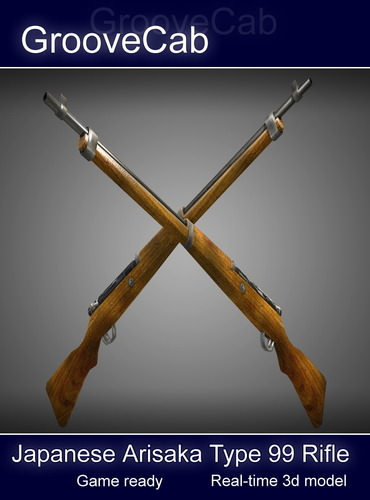 Arisaka Type 99 Rifle Low Poly 3D Model .obj .fbx .lwo .lw .lws .ma .mb .blend .dae