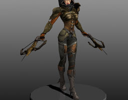 Demon Hunter Hand Painted Character Model in Tpose 3D Model