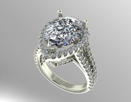 Pear shape halo ring 3D Model