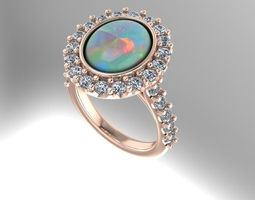 Rose gold opal and diamond ring 3D Model