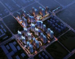 rigged city commercial and residential building design 3d