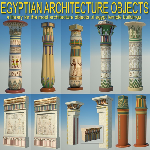 Egyptian architecture objects library 3d model obj c4d for Architecture 3d vue 3d