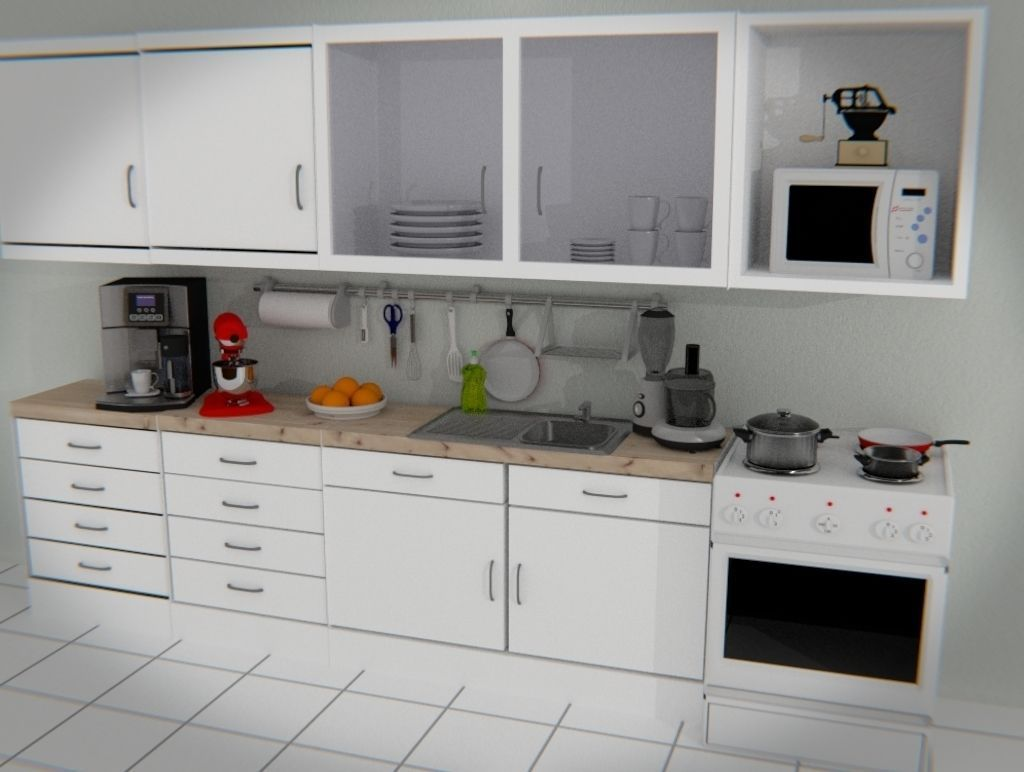 Kitchen room set 3d model obj 3ds fbx blend dae mtl for New model kitchen