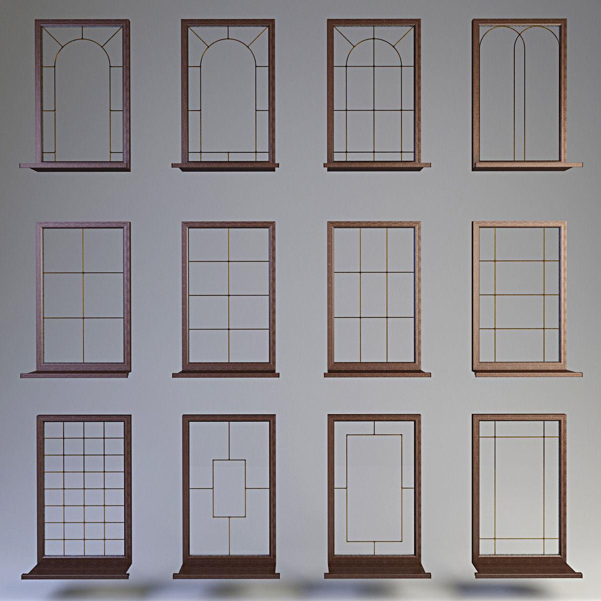 Windows collection muntin bars 3d model max obj for Window 3d model
