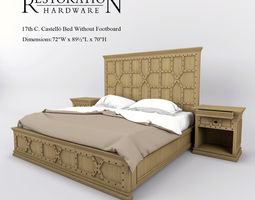 restoration hardware 17th c castello bed without footboard  3d