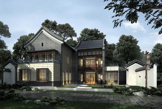 Urban residential villa design-193D model