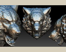 3D print model stylized wolf head 0190
