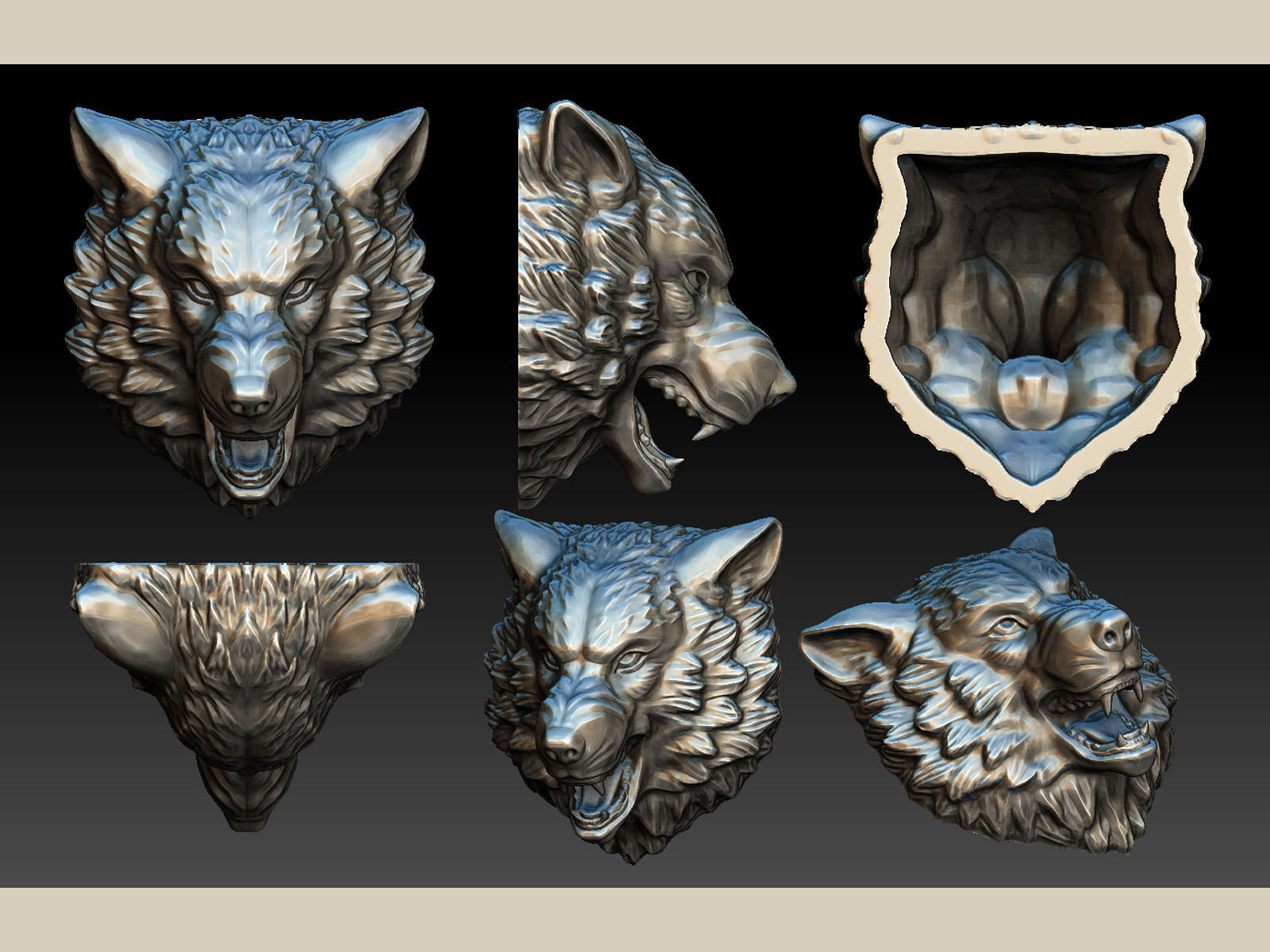 Stylized Wolf Head 0190 3d Model 3d Printable Obj Fbx