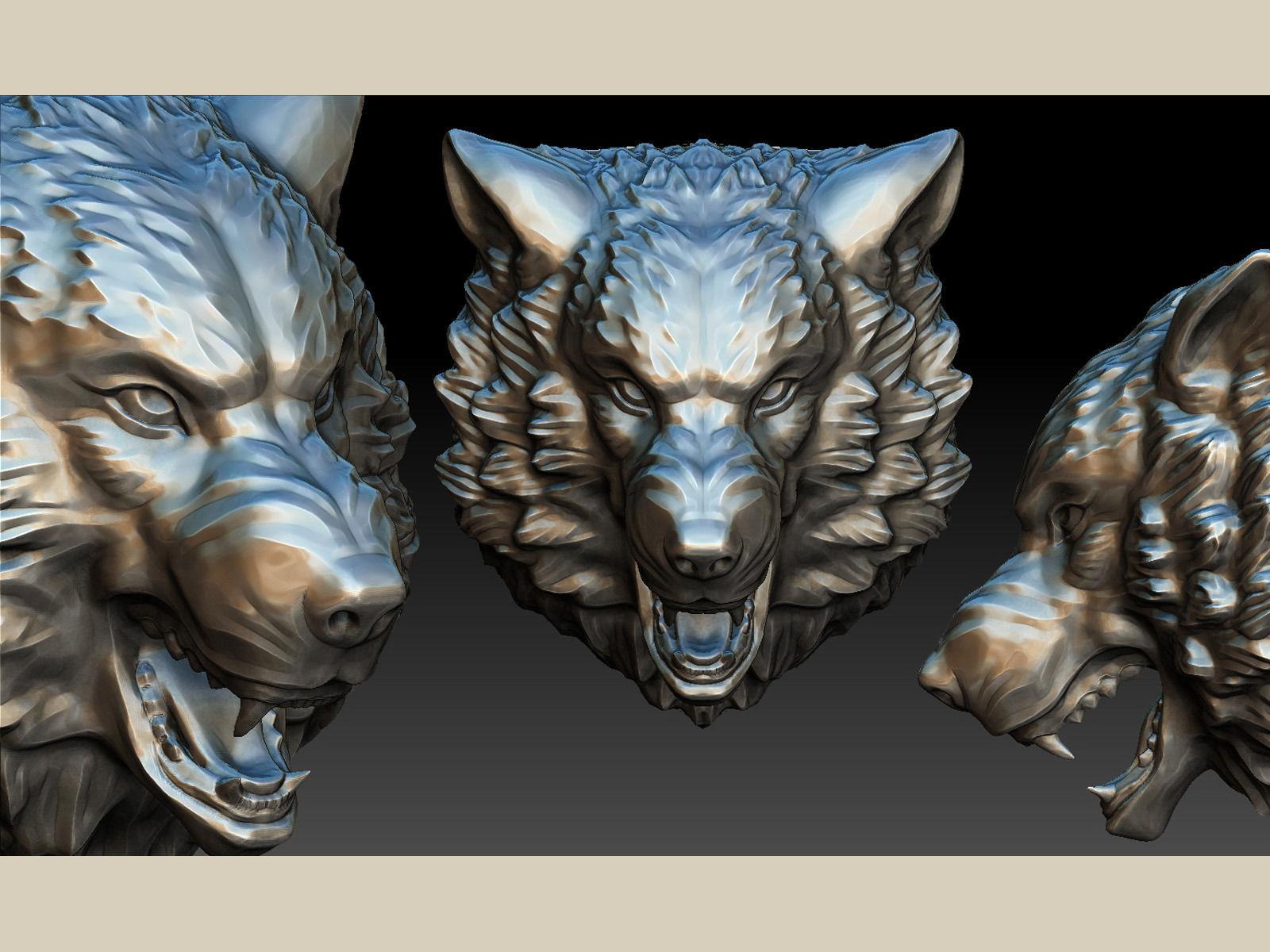 Stylized Wolf Head 0190 3d Model 3d Printable Obj Fbx Ma