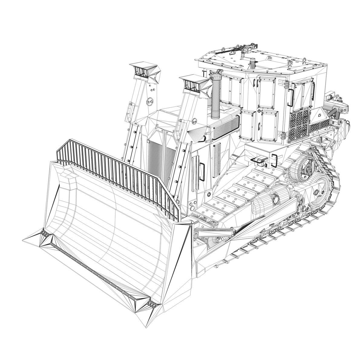 armored cat d9r bulldozer 3d model obj 3ds fbx c4d lwo lw