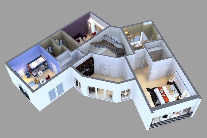 Detailed House floor 2 Cutaway 3D model3D model