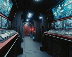 spaceship interior c hd 3d model obj fbx blend