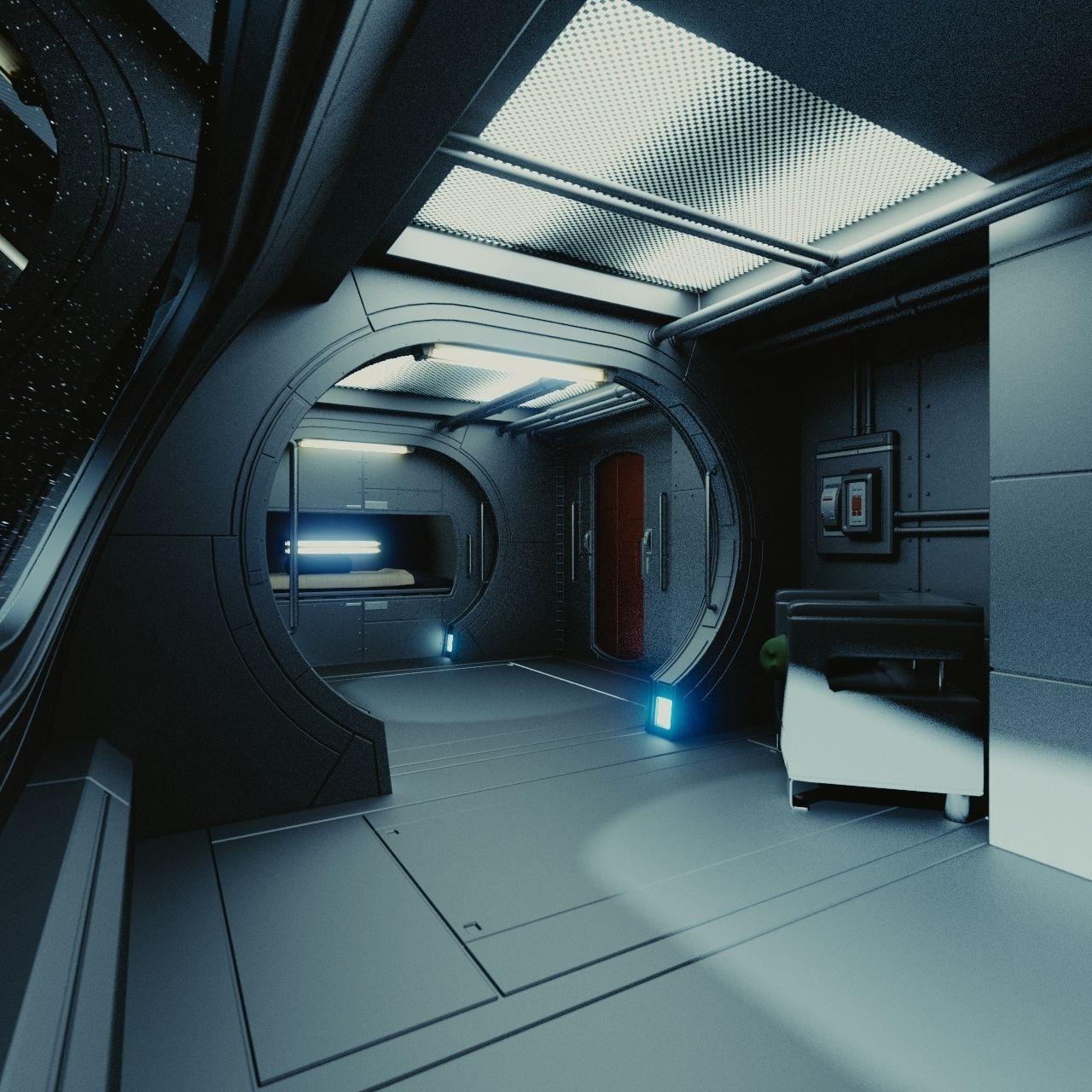 Spaceship interior c hd 3d model obj fbx blend - Interior space ...