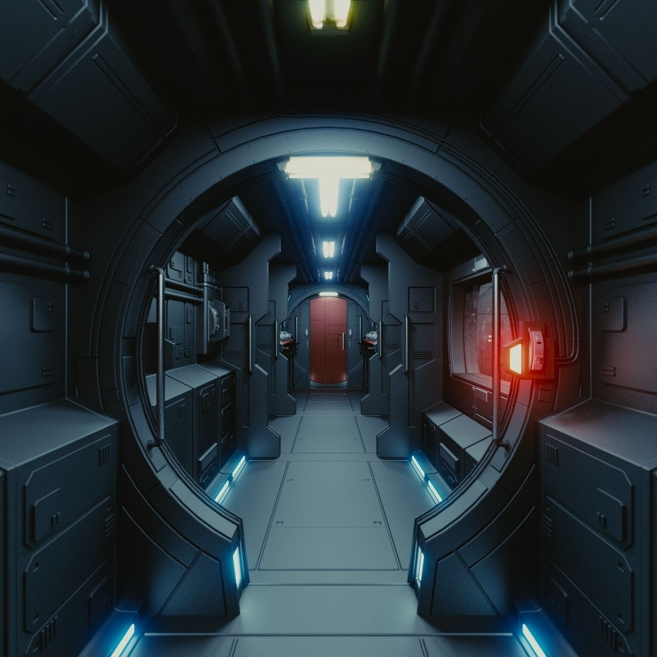 Spaceship interior c hd 3d model obj fbx blend for Sci fi decor