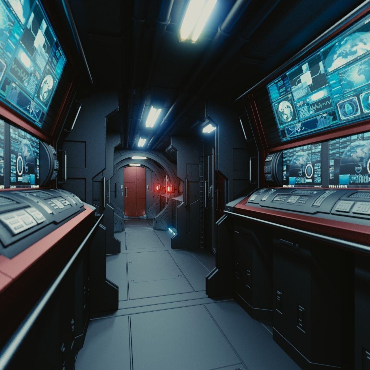 spaceship interior c hd 3d model obj fbx blend. Black Bedroom Furniture Sets. Home Design Ideas