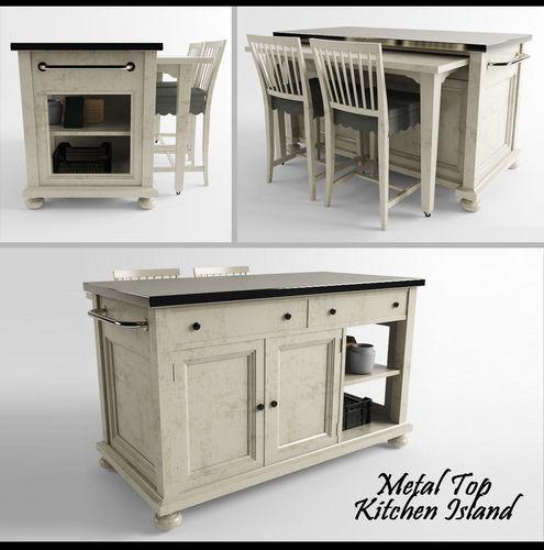 metal top kitchen island 3d model 3d printable max fbx stl chef x kitchen island cart by kitchen amp dining boltz