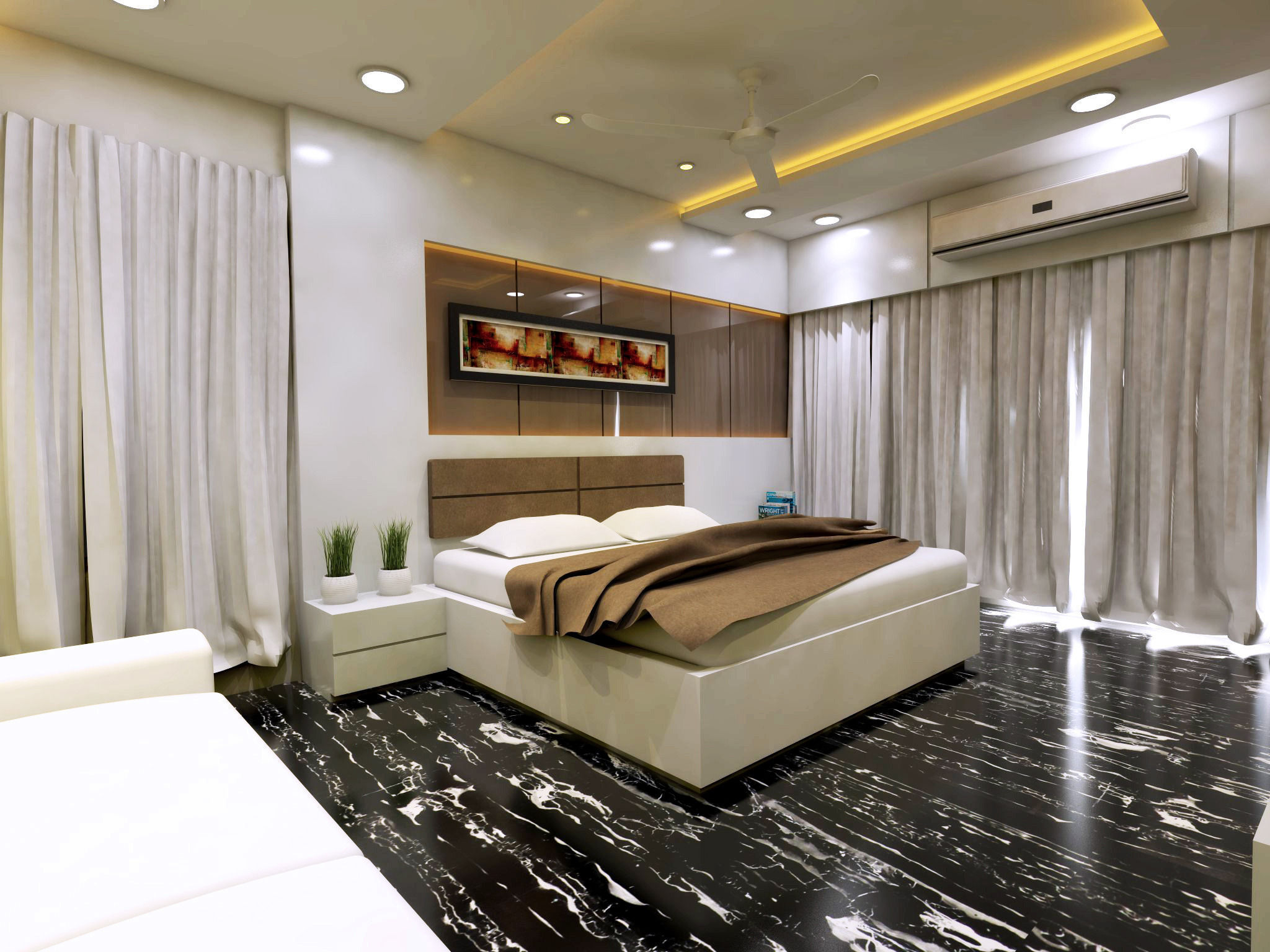Modern bedroom interior vray rendered 3d model skp for Vray interior