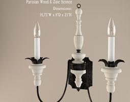 3d model restoration hardware  parisian wood and zinc sconce