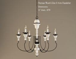 3d model restoration hardware  parisian wood and zinc 6 arm chandelier