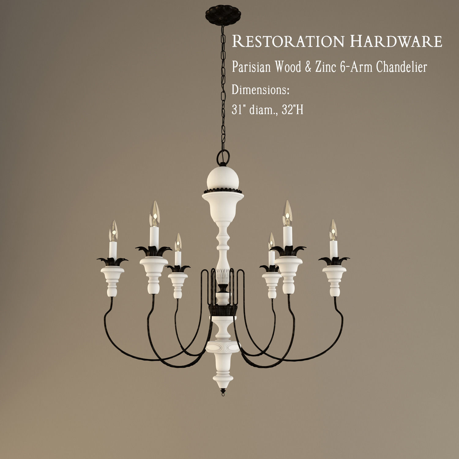 Restoration Hardware Parisian Wood And Zinc 6 Arm Chandelier 3d Model 3ds 1