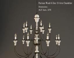 restoration hardware  parisian wood and zinc 15 arm chandelier 3d