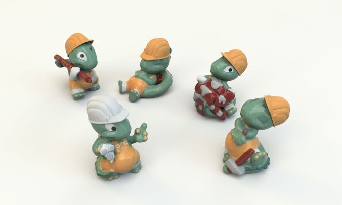 Kinder Surprise dino toy collection3D model