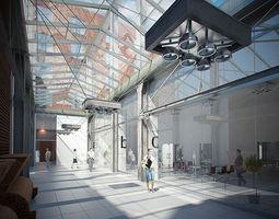 3d model corridor business interior scene render ready