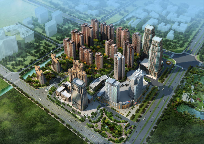 City commercial and residential building d...3D model