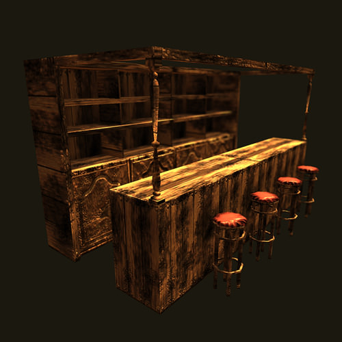 Medieval bar 3d model game ready max obj fbx for Food bar 3d model