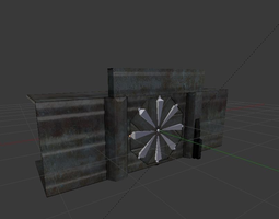 VR / AR ready door component 4 rigged and animated 3d model