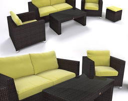 garden furniture - synthetic rattan set - ato venedig 3d